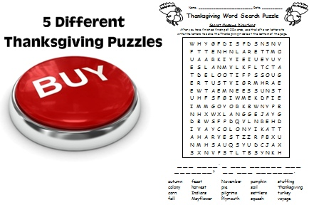 Thanksgiving and Wordsearch and Crossword Puzzle Worksheets