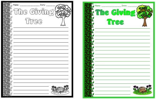 The Giving Tree Final Draft Creative Writing Worksheets and Lesson Plans