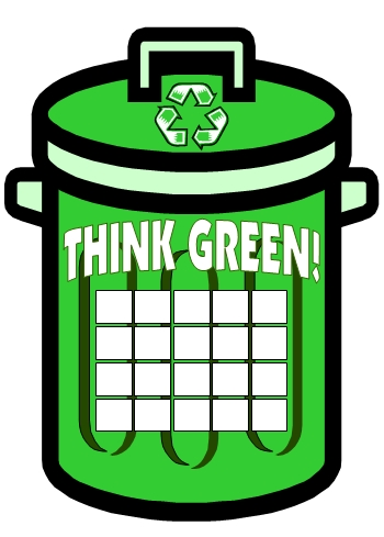 Free Think Green Reduce Reuse Recycle Trash Can Sticker Chart