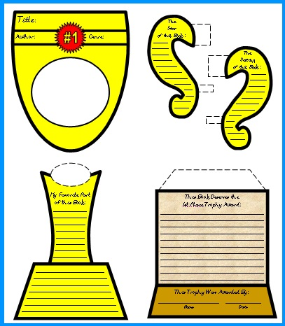 My Favorite Book Report Trophy Templates And Graphic Organizers