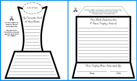 Favorite Book Report Trophy Project templates printable – Book Report Summary Template
