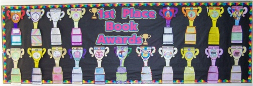 Elementary Classroom Bulletin Board Display of Trophy Book Report Projects