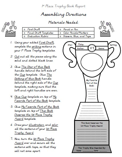 My Favorite Book Report Projects Directions for Assembling Templates