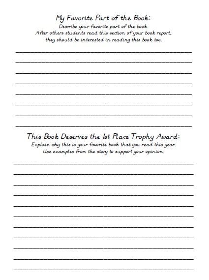 Favorite Book Report Projects Printable Worksheets