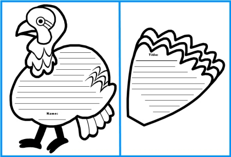 Turkey Creative Writing Set Black and White Templates