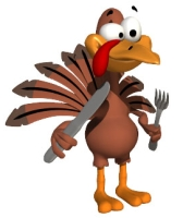 Thanksgiving Turkey Holding Knife and Fork