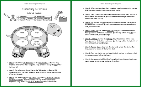 Turtle Book Report Project Assembly Directions for Teachers and Students