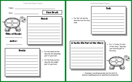 Turtle Book Report Project First Draft Printable Worksheets