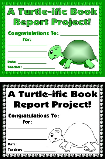 Turtle Award Certificate For Elementary School Students