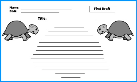 Turtle Creative Writing Worksheet First Draft