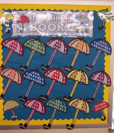 Spring Umbrella Raindrops Reading Sticker Chart