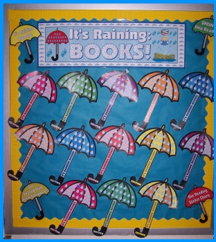 Spring Rain Umbrella Reading Sticker Chart