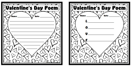 Valentine's Day acrostic poem heart templates