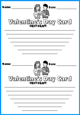 Valentine's Day Card First Draft Writing Worksheets for Elementary Students