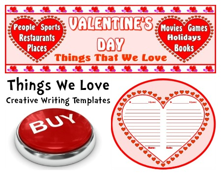 Valentine's Day Heart Creative Writing Templates and Lesson Plan Activities