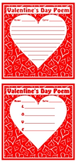 Valentine's Day Poems Printable Worksheets