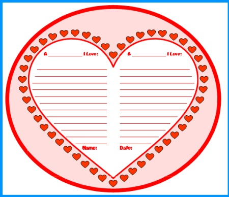 Valentine's Day Heart Creative Writing Templates and Printable Worksheets