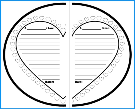 Valentine's Day Heart Writing Templates and Printable Worksheets