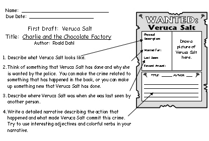 Veruca Salt First Draft Worksheets Charlie and the Chocolate Factory