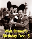 Walt Disney's Birthday December 5