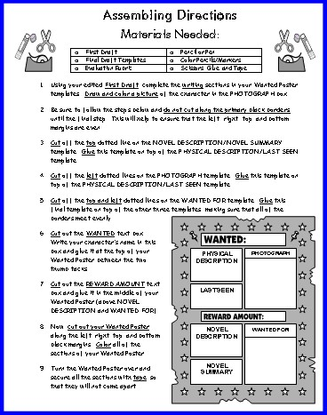 wanted poster book report project Students choose a character to analyze they create a wanted poster to show some fault of the character rubric included.