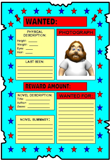Wanted Poster Book Report Projects for Elementary School Students