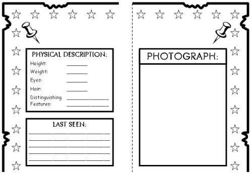 Wanted Poster Book Report Projects templates printable – Template for a Wanted Poster