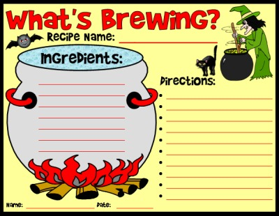 What's Brewing Halloween Recipe Worksheet