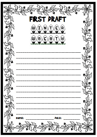 Winter Wreath Printable Worksheet for Creative Writing Lesson Plans