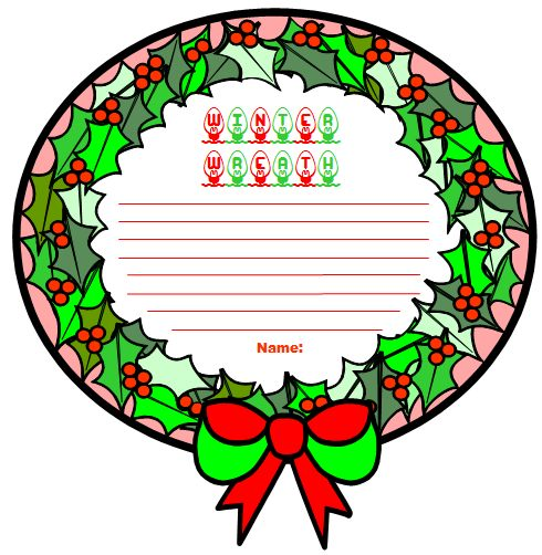 Winter Wreath Creative Writing Templates, Projects, and Worksheets