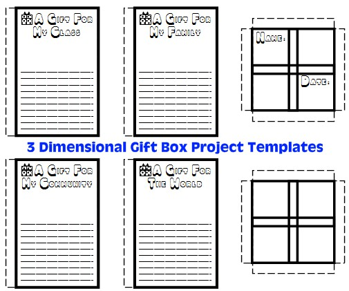 3D Cube and Rectangle Gift Box Project Templates for Presents