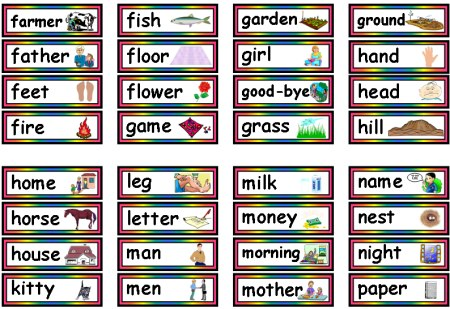 Free 95 Dolch Nouns Sight Words Printable Flashcards and Teaching Resources