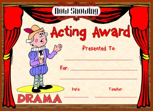 Acting Award Certificate For Plays, Drama, and Theater