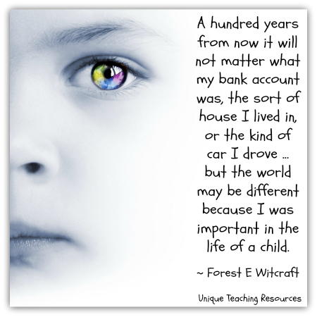 A hundred years from now it will not matter what my bank account was - Forest Witcraft quote about children