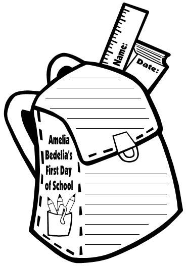 Amelia Bedelia's First Day of School Herman Parish Student Book Bag Writing Templates