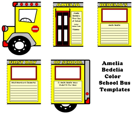 Amelia Bedelia's First Day of School Group Project For Students to Complete Bus Templates