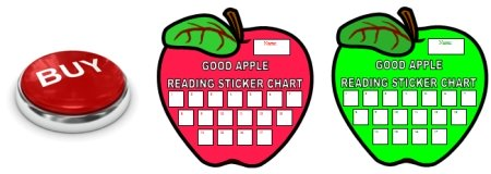 Apple Shaped Incentive and Sticker Charts For Reading Books