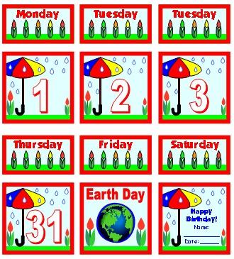 April Printable Pocket Chart Classroom Calendar For School Teachers