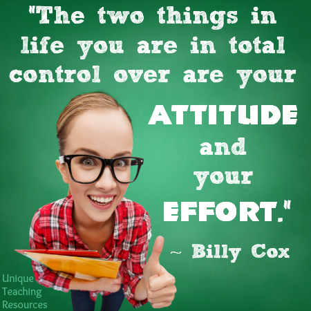 Your Attitude and Your Effort Billy Cox Inspiring Quote