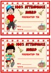 100% Attendance Boy and Girl Award Awards and Certificates