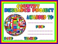 Country Research Project Awards and Certificates