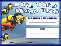 Dive Into Learning Student Awards and Certificates