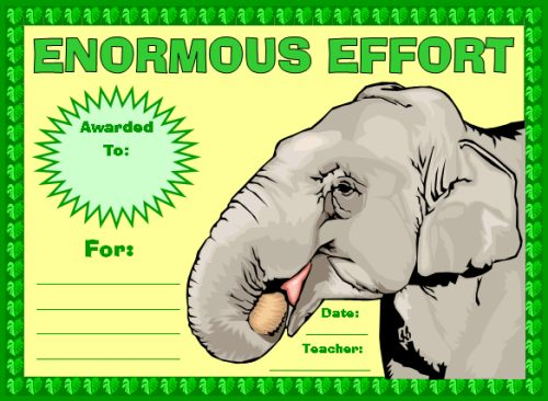 Enormous Effort Award Certificate