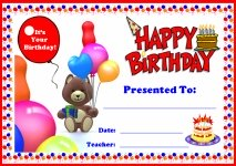 Happy Birthday Awards and Certificates