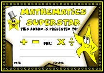 Math Superstar Awards and Certificates
