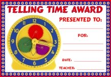 Math Telling Time Awards and Certificates