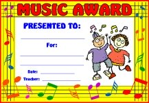 Music Elementary Awards and Certificates
