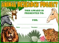 Animal Research Science Awards and Certificates