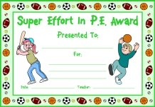 Super Effort In PE Awards and Certificates
