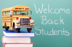 Welcome Back To School Elementary Students Bus Photograph